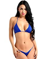 aed13bf252d inhzoy Women's 2 Pieces Bikini Set Halter Micro Crop Bra Top with G-String  Thongs