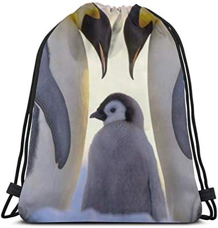 ペンギンファミリードローストリングバックパックジムダンスバッグショルダートラベルバッグ誕生日プレゼント36 x 43cm