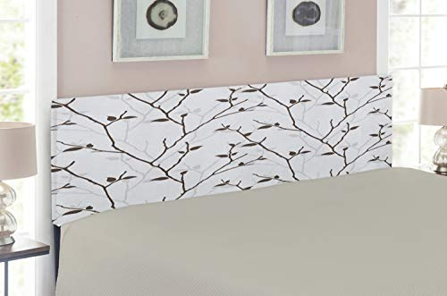 Lunarable Leaf Headboard, Branches in the Fall Trees Stem Twig with Last Few Leaves Minimalistic Design Art, Upholstered Decorative Metal Headboard with Memory Foam, for King Size Bed, Pale Grey Brown (Twig Style Headboard)