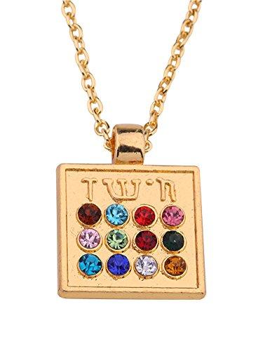 Wicca Religious Crystal Enameled Chai Hebrew Alphabet Jewish Symbol Pendant Necklace (Gold, 12 ()