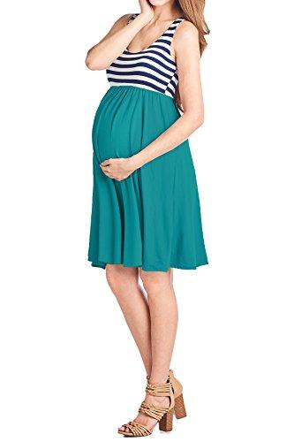 Beachcoco Women's Maternity Knee Length Tank Dress (L, Stripe/Jade)