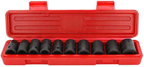 Drixet 1/2'' Drive Shallow Metric Impact Socket Set | 10-Piece 6-Point CR-V Sockets with Case | Includes Sizes: 12, 13, 14, 15, 16, 17, 18, 19, 21 & 24mm by Drixet (Image #3)