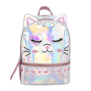 Jascaela Cute Cat Hologram Backpack Metallic Waterproof Fashion Leather Bag Travel Daypack for Women Girls