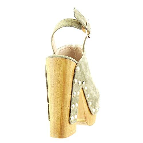Angkorly - Chaussure Mode Sabot Sandale plateforme femme clouté bois Talon haut bloc 12.5 CM - Vert