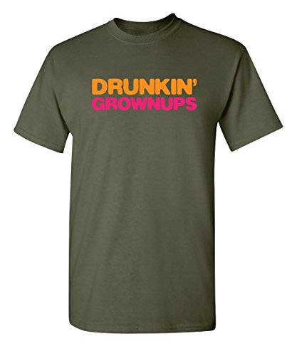 (Feelin Good Tees Drunkin' Grownups Adult Party Sarcastic Drinking Funny T-Shirt S Military)
