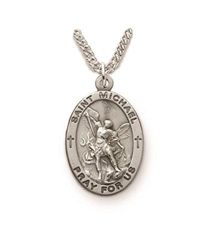 Sterling Silver Catholic Patron Saint Saint Michael Medal Pendant, 1 ()