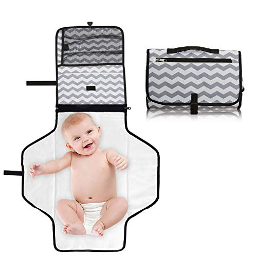 Portable Waterproof Baby Diaper Changing Pad, Travel Changer Station Kit for Baby and Infant with Head Cushion (Gray)