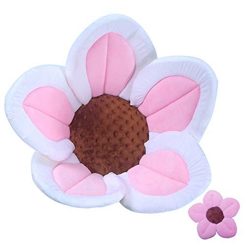 Baby Bath Flower Soft Cushion Non-Slip Safety Sink Insert Tub Creative Play-mat 0-12 Months, Includes Mini Bath Flower Scrubby Toy BPA Free (Baby Pink)