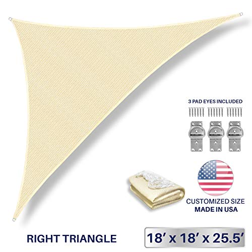 Windscreen4less 18 x 18 x 25.5 Sun Shade Sail Triangle Canopy in Beige Included Free 3 Pad Eyes with Commercial Grade 3 Year Warranty Customized Size