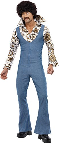 Smiffy's Men's Groovy Dancer Costume, Jumpsuit With Attached Mock Shirt, 70 Disco, Serious Fun, Size L, 33216