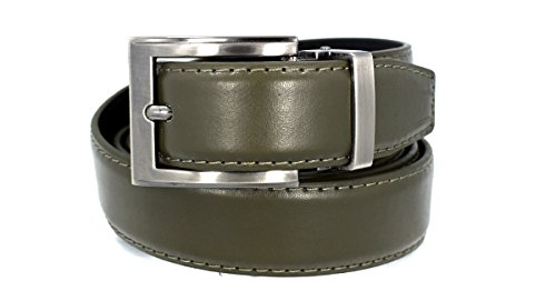 (Men's Solid Leather Belt (42, Olive Green) style)