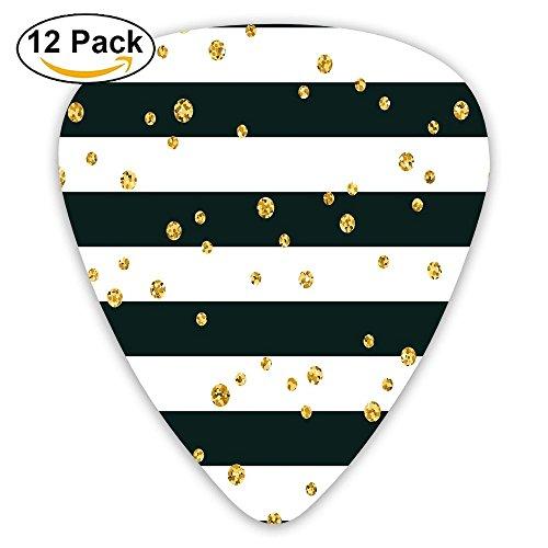 Newfood Ss Horizontal Bold Lines And Stripes With Polka Dots Circles Image Decorative Guitar Picks 12/Pack Set ()