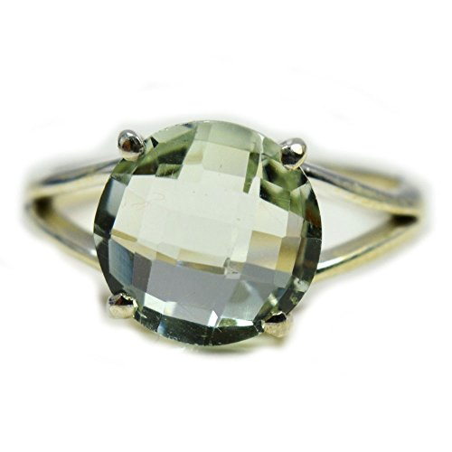 Gemsonclick Genuine Natural Green Amethyst Round Shape 925 Sterling Silver Ring