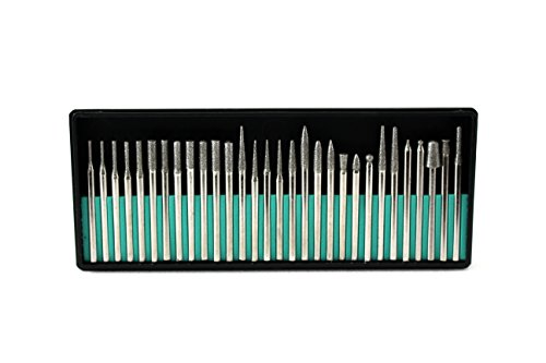 TEMO 30 pieces Fine Diamond Coated Burrs Glass Drill Bit Grit 300 with 1/8 inch (3mm) Shank for Dremel and Rotary Tools