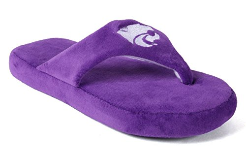 KSU08-2 - Kansas State Wildcats - Medium - Happy Feet Men's and Womens Comfy Flop Slipper