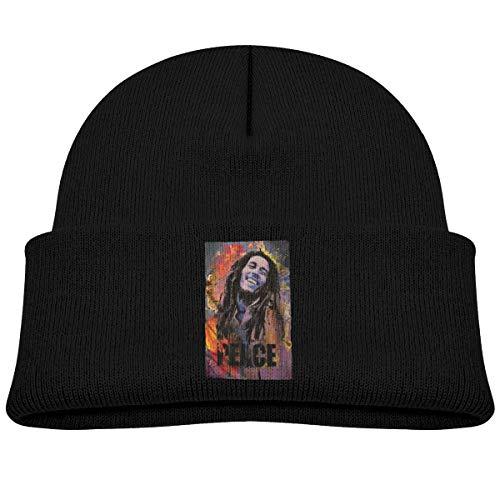 - MUPTQWIU Pot-Rasta Bob Marley Peace Reggae Children's Beanie Hat Cap Cuffed Knit Beanie Hat Black