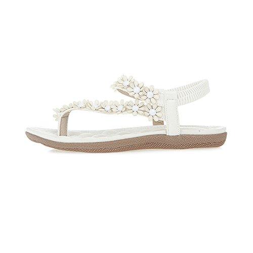 OCHENTA Mujer Zapatos de la playa de Bohemia dulce de abalorios sandalias del dedo del pie del clip Blanco