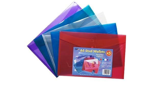 Tiger - Portadocumentos de plástico tipo cartera , Blue/Clear/Green/Purple/Red, A4 x 25 x25: Amazon.es: Hogar