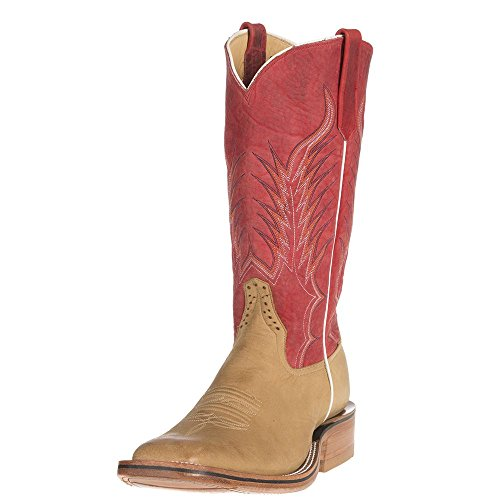 Rios Of Mercedes Mens Ride Ready Burnished Crazy Horse Red Bulldozer Texas Steerhide Top Boots 10.5 2E US Tan