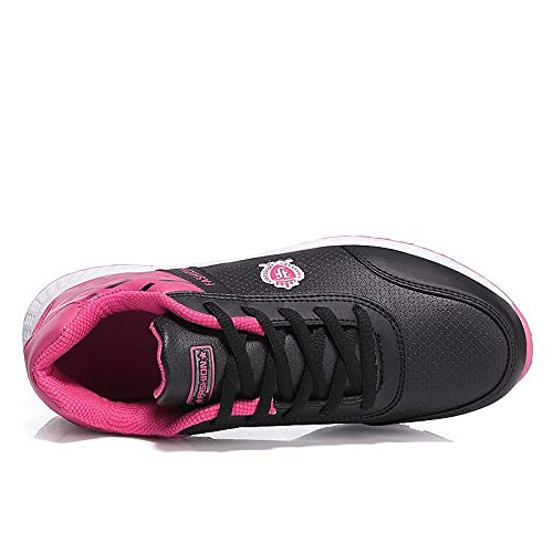 Round de Comfort Otoño Mujer Toe Piel Pink Pink Sneakers Primavera Flat Black de Zapatos sintética ZHZNVX Heel Purple tA8q77