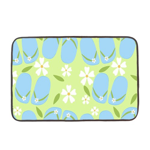 Cute-Blue-Flip-Flops-With-Floral-Rattern-DoorMat-Rugss-Multi-purpose-for-Bathroomkitchenworkstations-Decor-Mat-Rugs