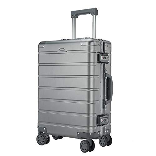 Magnesium Alloy Case - XDJ Life Aluminum-Magnesium Alloy Suitcase Luggage Trolley case TSA Customs Password Lock Universal Wheel Boarding Suitcase Men and Women Luggage (20/24 inches) (24inches, Grey)
