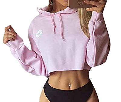 Fulok Womens Fashion Cute Print Lip Sport Crop Pullover Hoodie Sweatshirt