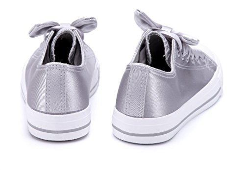 Schuhtempel24 Damen Schuhe Low Sneaker Flach Zierschleife Grau