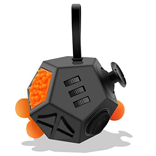 Fidget Dodecagon -12-Side Fidget Cube Relieves Stress and Anxiety Anti Depression Cube for Children and Adults with ADHD ADD OCD Autism (A1 Black)