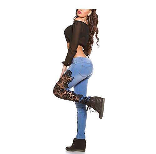 Aderenti Alta Skinny Oudan Jeans Nero A Donna Bassa Pantaloni Vita Zipper Da Estivi CqwAP