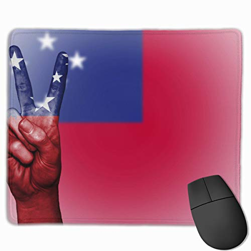 (Flag of Samoa Hand Peace Non-Skid Personalized Designs Gaming Mouse Pad Black Cloth Rectangle Mousepad Art Natural Rubber Mouse Mat with Stitched Edges 9.811.8 Inch)