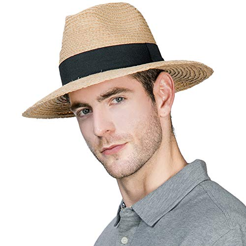 - Mens Raffia Straw Fedora Foldable Panama Sun Hat Summer Beach Trilby Wide Brim Casual Party Women Khaki 57-61CM Siggi
