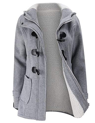 Wool Toggle Blend Hooded (Moschifia Women's Hoodie Plus Size Jacket Wool Blend Duffle Toggle Pea Coat)