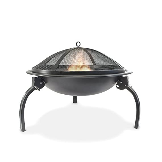 Durable 22-inch Portable Folding Fire Pit with Carrying Bag and Fire Poker - Fire bowl is matte porcelain enamel and stand is steel finished with black powder paint Fine-mesh screens provide view of fire from all sides Design allows legs to fold so fireplace can fit into carry bag - patio, outdoor-decor, fire-pits-outdoor-fireplaces - 41kdS4NF99L. SS570  -