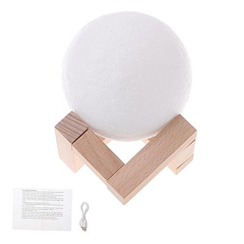 古墳Moonランプ18 cm、USB充電式デスクランプ3d LED 2色射出Luna Night Light Moonランプタッチセンサー B077TNZB98 19921