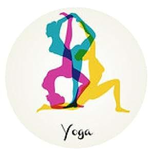 alfombrilla de ratón Las posturas de yoga silueta - ronda - 20cm
