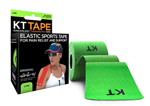 KT Tape Original Cotton Elastic Kinesiology Therapeutic Sports Tape, 20 Pre cut 10 inch Strips, Lime ()