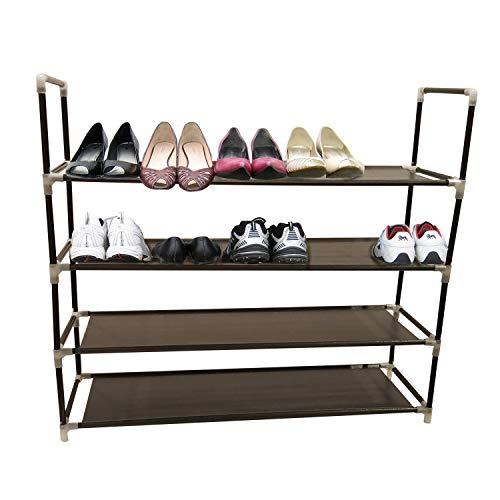 Zapatero organizador de 4 niveles, soporte de banco de almacenamiento para hombres y mujeres, clóset con estantes de tela...