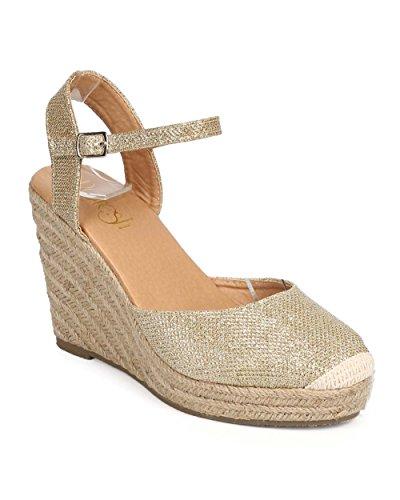 Refresh DI96 Women Glitter Cap Toe Ankle Strap Espadrille Wedge - Champagne (Size: 8.5)