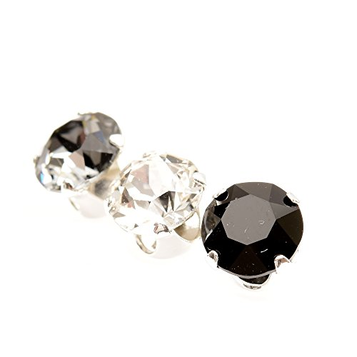 pewterhooter Men's 3 Single 925 Sterling Silver stud earrings made with...