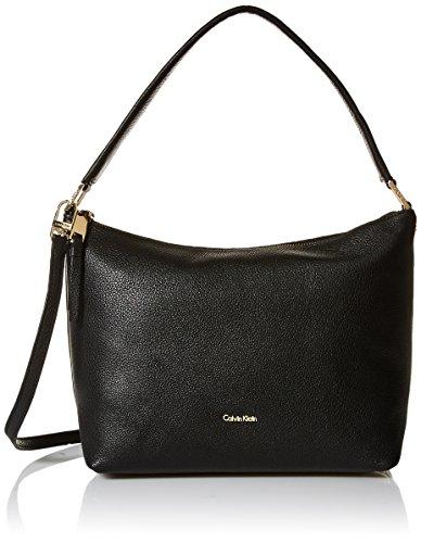 Calvin Klein womens Calvin Klein Angelina Pebble Leather Hobo, black/gold, One Size Calvin Klein Hobo Bag