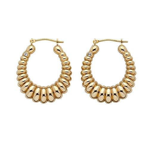 14K Yellow Gold Shrimp Style Nano Diamond Resin Filled Hoop Earrings (24.5mm) (Style Ring Shrimp)