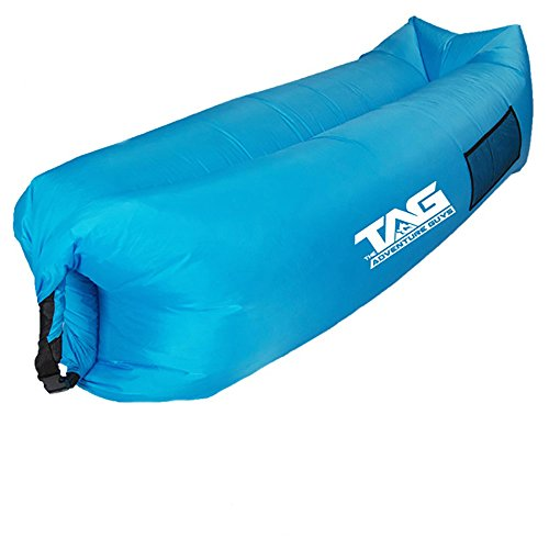 Inflatable Lounger Air Sofa - Seconds to Inflate & Puncture Resistant w/ Metal Securing Stake + 3 Pockets - Air Lounger Inflatable Couch Perfect for Outdoors, Camping, Beach, Park or Pool