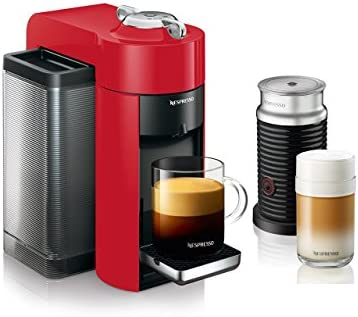 Nespresso ENV135RAE Coffee and Espresso Machine Bundle with Aeroccino Milk Frother by De Longhi, Red