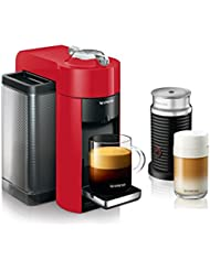Nespresso Vertuo Coffee and Espresso Machine Bundle with Aeroccino Milk Frother by De'Longhi, Red