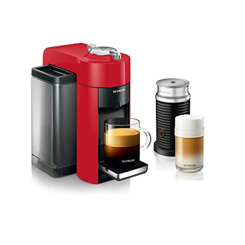 Nespresso by De'Longhi ENV135RAE Coffee and Espresso Machine Bundle with Aeroccino Milk Frother, Red