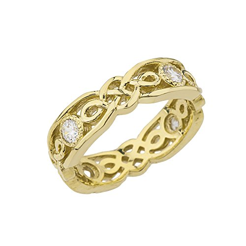 Elegant 10k Yellow Gold CZ Vintage Celtic Knot Wedding Band (Size 6.5)