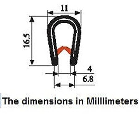 Hauteur 53,3//81,3/cm Joint noir large en U Hauteur 7,6//162,5 cm 12,7//81,3 cm noir plan de serrage.