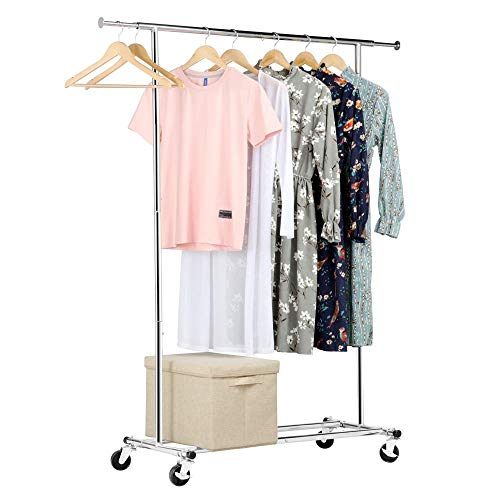 Yaheetech Heavy Duty Adjustable Commercial Grade Garment Rack Rolling Chrome Clothes Rack Hanging Rack with Wheels Retail Display Rack