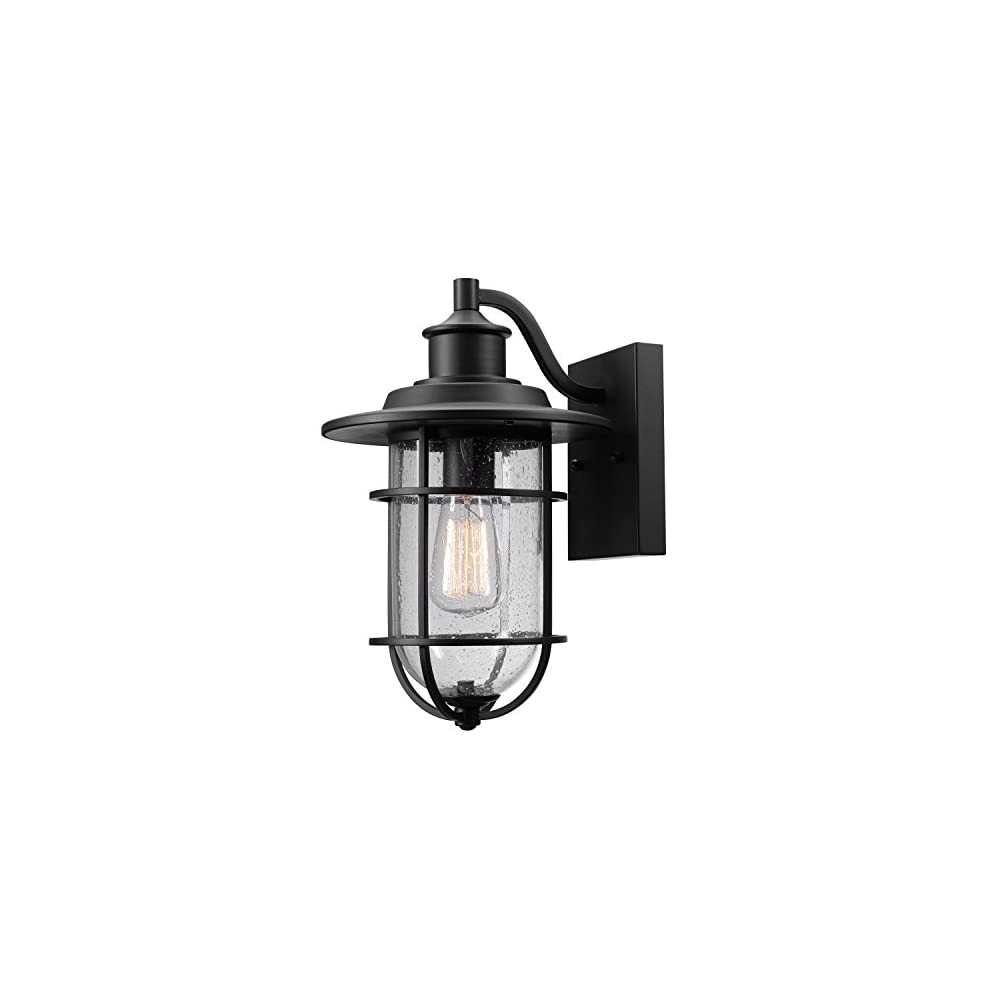 Globe Electric 44094 Turner 1-Light Indoor/Outdoor Wall Sconce, Black with Seeded Glass Shade